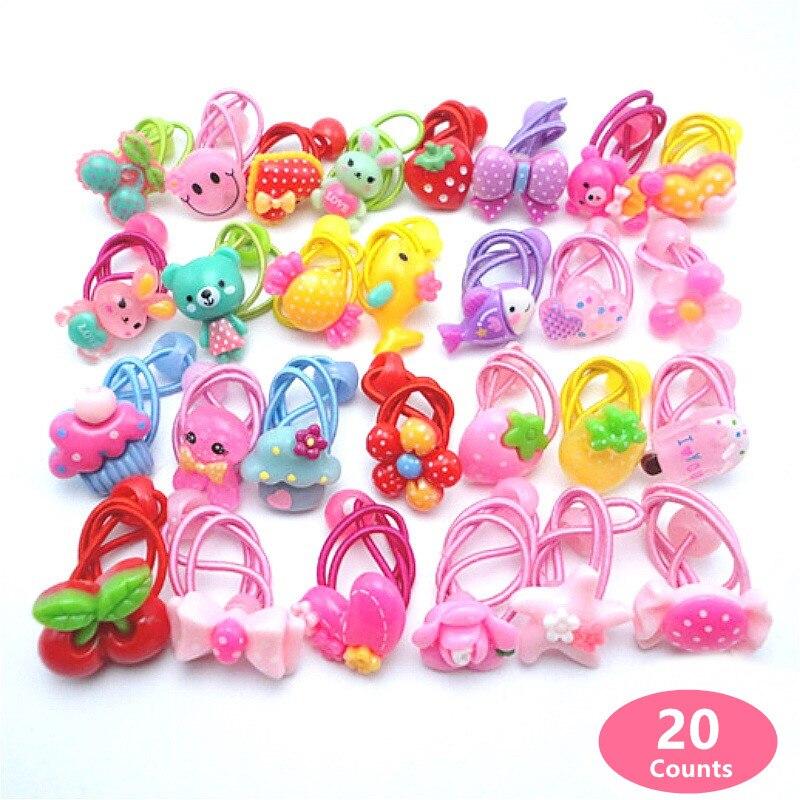 20 peças (10 pares) elástico de cabelo para meninas pt069, cores de doces dos desenhos animados, rabo de cavalo, meninas, acessórios de cabelo infantil