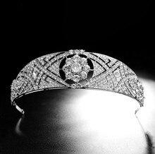 Księżniczka Harry Meghan korona ślubna Vintage Crystal tiary ślubne opaskę do włosów chluba srebrna królowa panna młoda korona na konkurs piękności