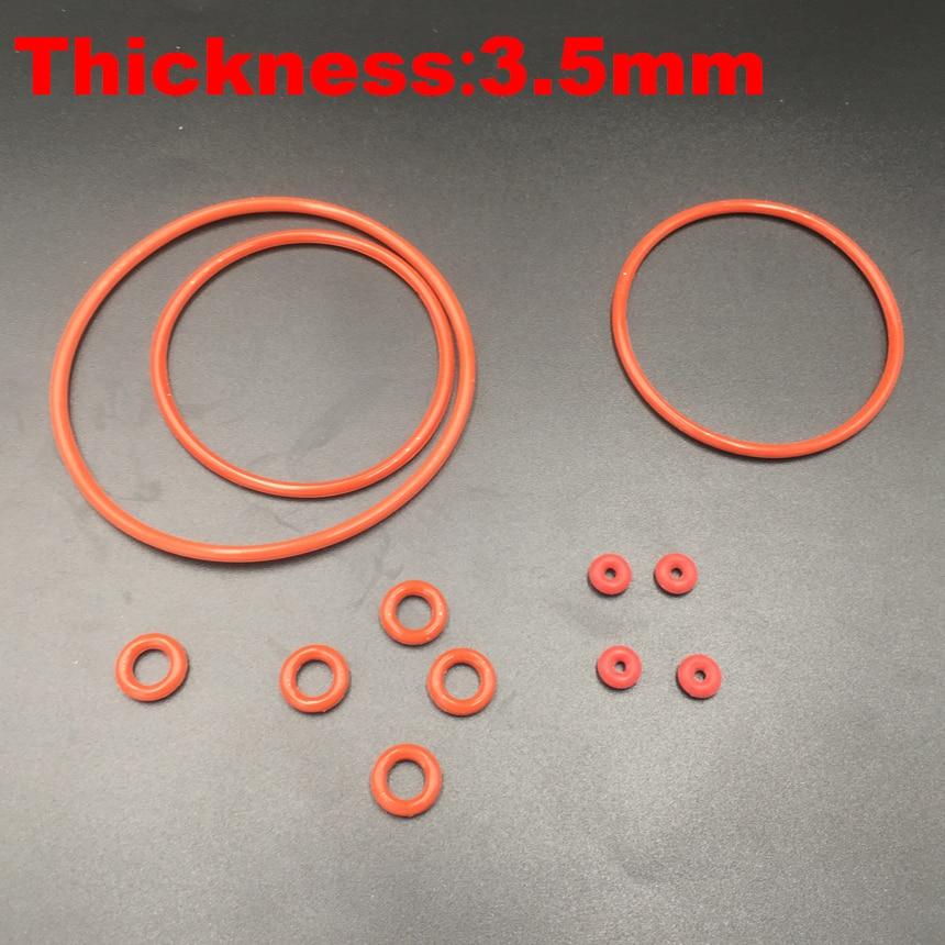 7 Uds 130x3,5 130*3,5 135x3,5 135*3,5 140x3,5 140*3,5 (OD * grosor) junta tórica de silicona roja de grado alimentario junta tórica de anillo O de silicona