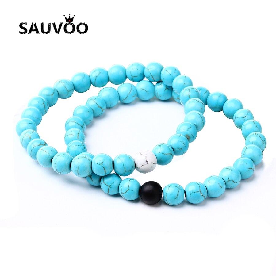 Sauvoo Nieuwe 1 Paar Natuursteen Bedels Armbanden Femme 8 Mm Kralen Streng Armband Homme Voor Vrouwen Geschenken Mode-sieraden
