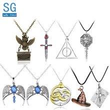 SG HP Necklaces Hogwarts Sorting Hat Gryffindor Sword Time Turner Ravenclaw Diadem Horcrux Locket Hedwig Jewelry
