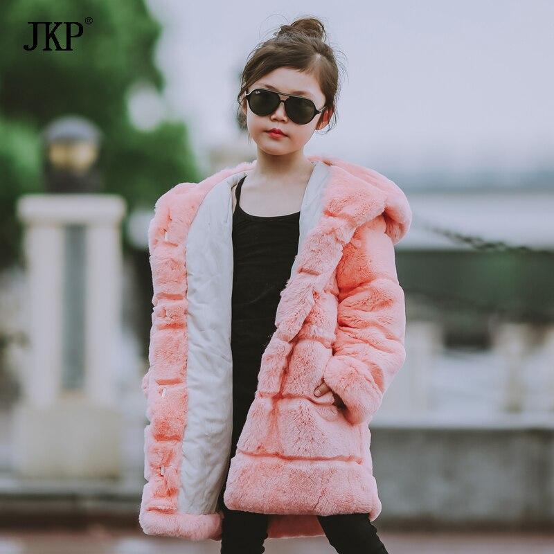 Winter Kids Rex Rabbit Fur Coats Children Warm Girls Rabbit fur Jackets fashion Thick Outerwear Clothes