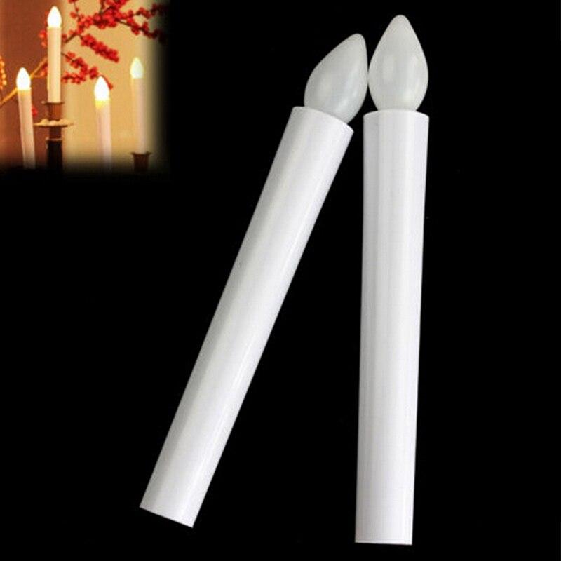 Романтичные веселые новые длинные беспламенные свечи, мерцающий свадебный светодиодный светильник для чая, свечи, аккумуляторный светильн...