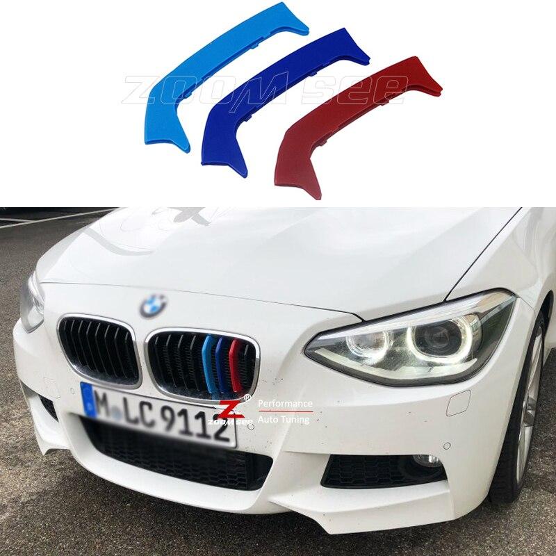 Para BMW serie 1 2012-2014 F20 F21 (8 parrillas) accesorios de coche rejilla frontal M rayas deportivas tapa de parrilla pegatina decorativa