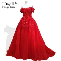 2020 sequins arabic real sample red ball gown puffy appliques lace bead off the shoulder short sleeves formal evening prom dress