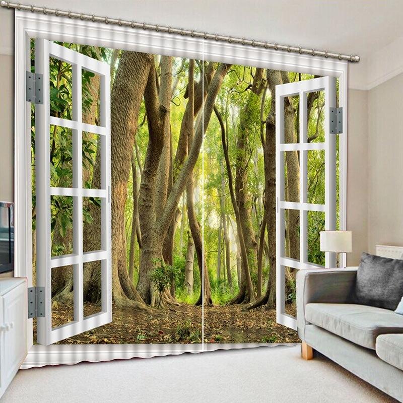 NoEnName_Null cortinas de bosque verde de cortinas de impresión 3D de alta calidad hacen que los ojos sean cómodos para el dormitorio y la sala de estar cortinas de habitación CL-070