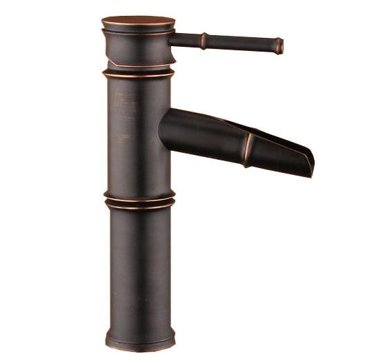 Grifos mezcladores de grifo de lavabo de baño de estilo de bambú con mango único de bronce frotado con aceite anf042