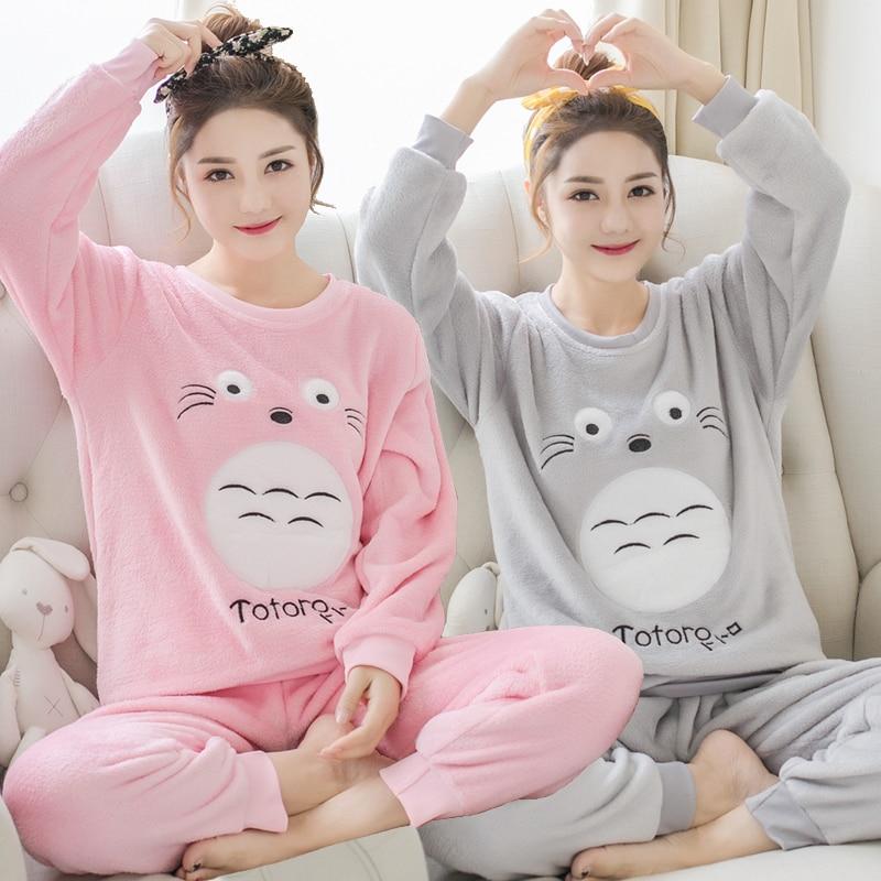 Épais chaud flanelle pyjamas ensembles pour femmes hiver à manches longues corail velours Pyjama filles mignon dessin animé Totoro Homewear Pijama Mujer