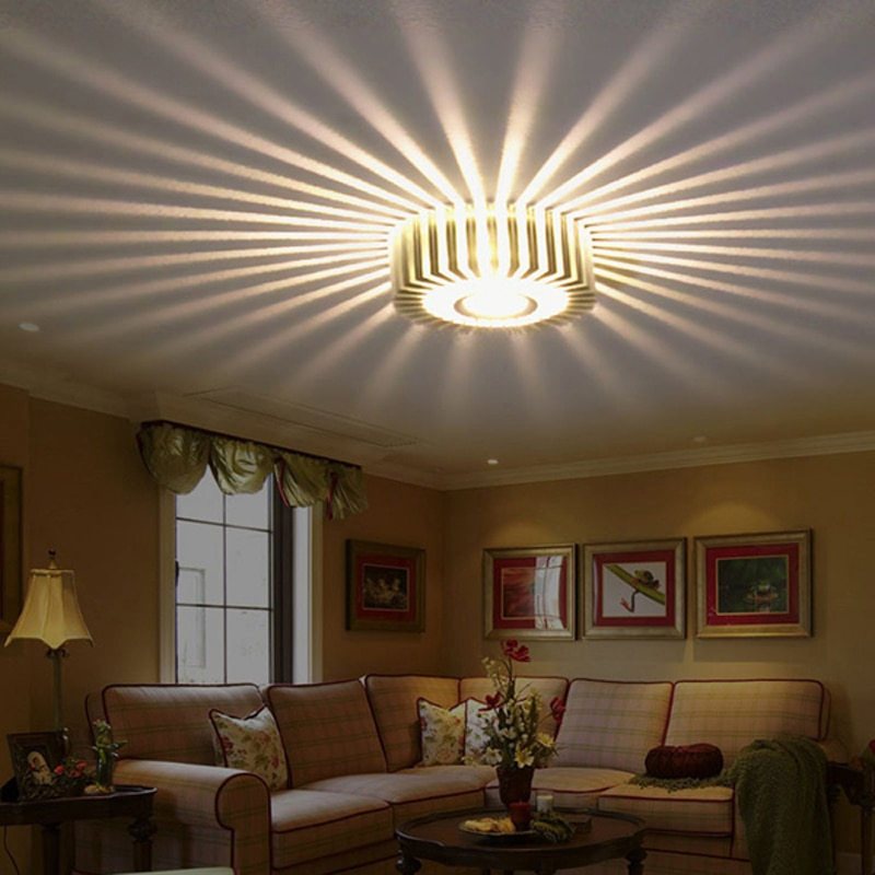 Luz LED de pasillo de 3W para el hogar, Lámpara decorativa para pasarela porche, luces LED creativas para el techo con diseño de girasol