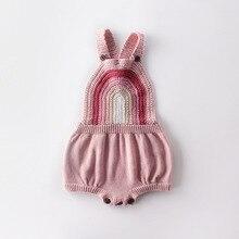 Ins Meninas Crianças Rainbow Crochet Camisola de Malha Romper Do Bebê Infantil Crianças Outono Primavera Nova Ins Vestuário de Moda Macacão