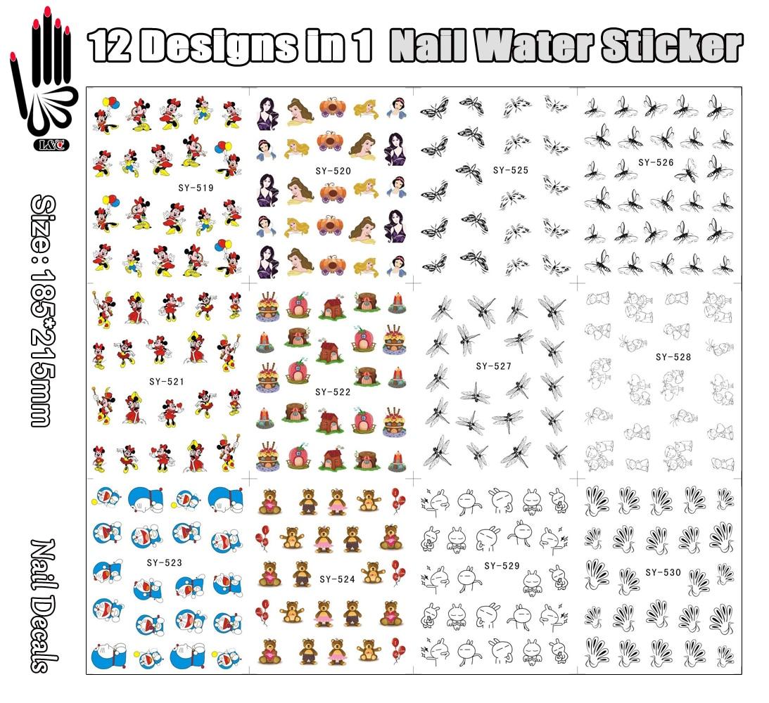 12 feuilles/Lot ongle SY519-530 dessin animé souris libellule noire Nail Art autocollant deau pour fourniture de tatouage dongle (12 dessins en 1)