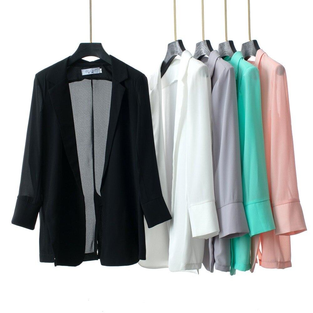Primavera Verano chaqueta y chaqueta de mujer delgada Casual Top ajustado de gasa de siete mangas elegante prendas de vestir exteriores sólido Casual traje femenino Suelto
