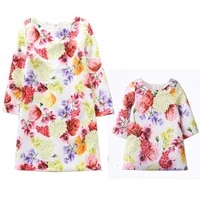 mommy and me family matching mother daughter dresses clothes bright floral printed kids girls dress parent children outfits