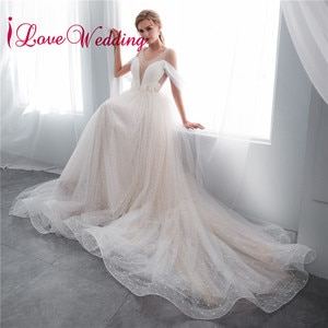 Romantic Robe de mariee A Line Wedding Dress Sheer Jewel Collar Off the Shoulder Court Train Vestidos de novia