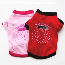 Ubrania dla zwierząt domowych szczeniak wiosna jesień czerwony/różowy parasol drukuj wygodna kamizelka dla psa t shirt dla małych psów cała sprzedaż