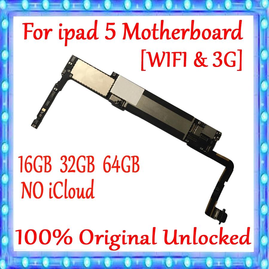 Placa base Original desbloqueada para Ipad 5 versión WIFI y WIFI-3G, 100% probado NO placa lógica iCloud 16GB 32GB 64GB buena calidad