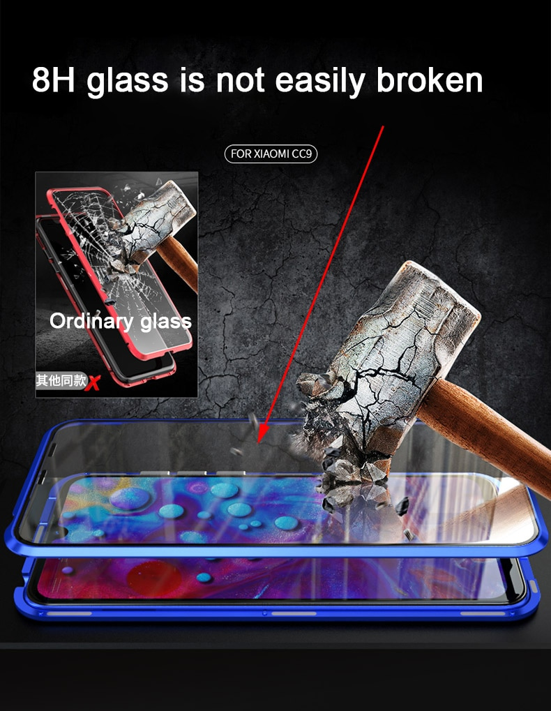 For Xiaomi Mi CC9 Magnetic Case MICC9 360 Front+Back double-sided 9H Tempered Glass Case for Xiaomi CC9E Metal Bumper Case