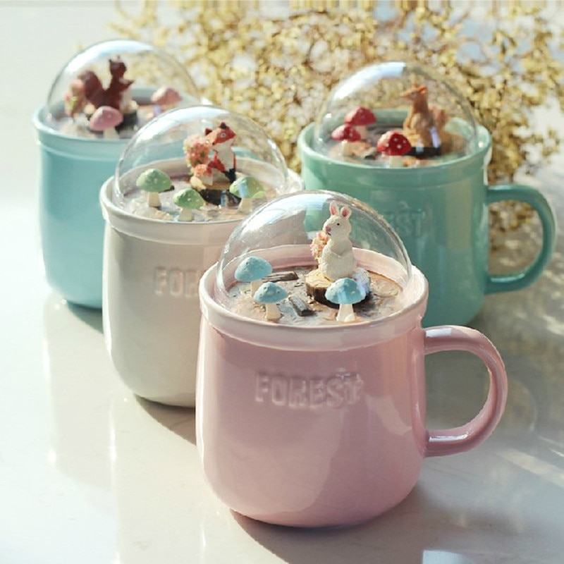 400ml Creative forest micro-landscape lid ceramic mug cute big belly mug student girl coffee mug gift Free shipping