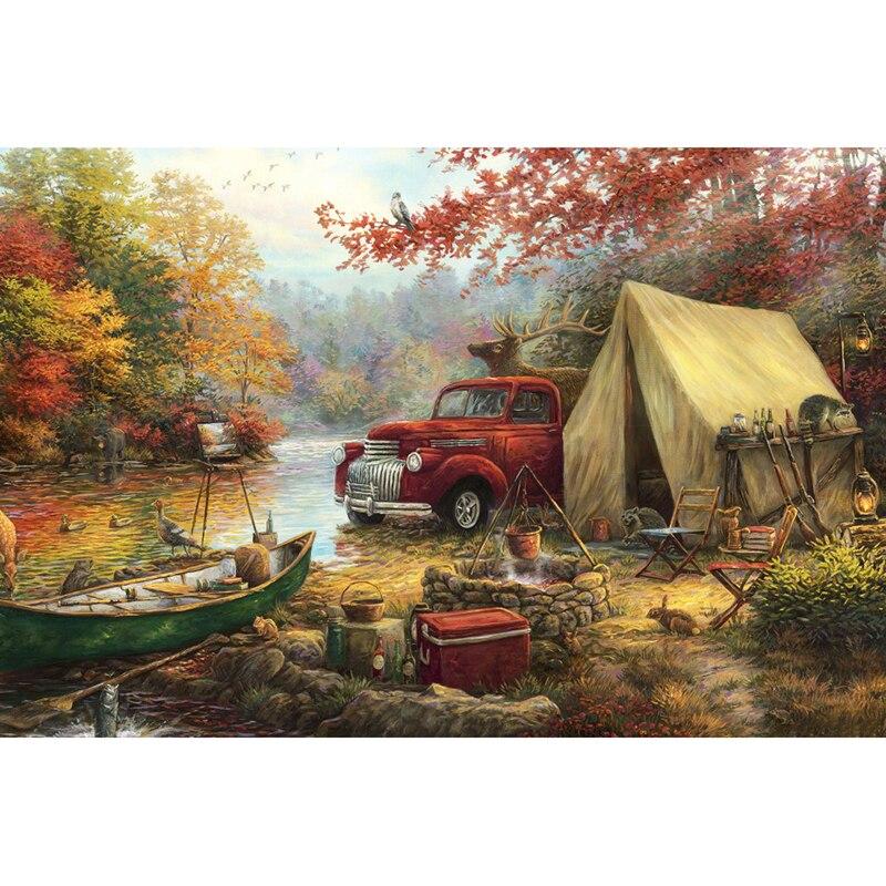 "Full Diamond 5D DIY Diamond Painting ""Nice Camping"" Embroidery Cross Stitch Rhinestone Mosaic Painting Gift KBL"