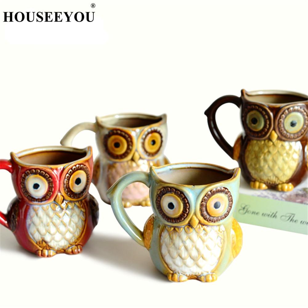 Regalo de Navidad 3D Animal lindo búho tazas 300ml taza de café de dibujos animados cerámica té de la leche tazas para desayuno mañana por la tarde taza de café taza de té