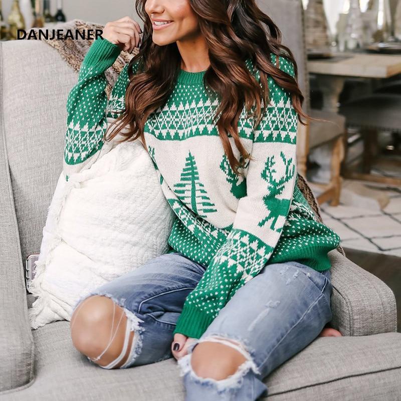 Danjeaner, suéter de Navidad 2018, jerséis de punto con estampado de ciervos clásicos de invierno, ropa de calle de talla grande, jerséis casuales de manga larga