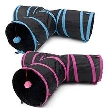 Jouet chat Tunnel pliable forme Y 3 trous   Design spécial, jouet de jeu pour chiot lapin et chaton, haute qualité avec boule, jouet pour animaux de compagnie 2 couleurs