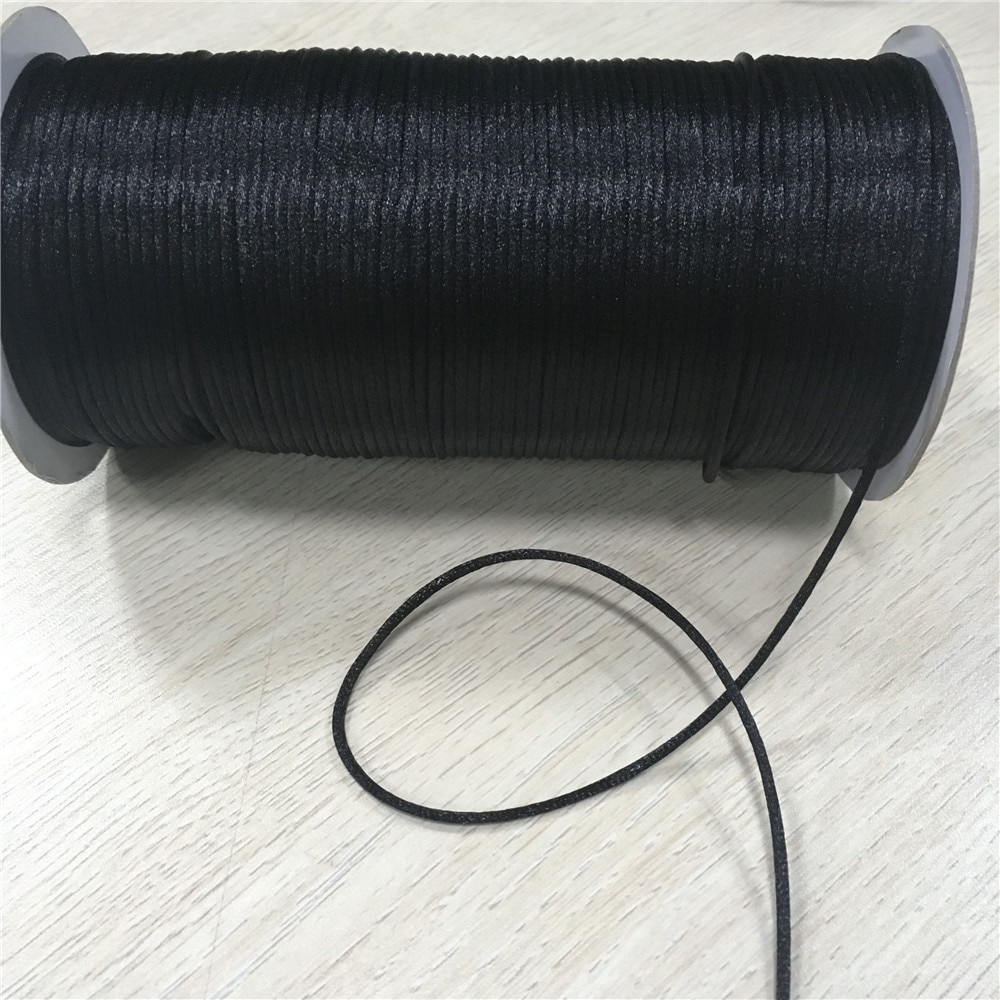 2017 0 8mm 100m spool macrame rope satin rattail nylon cords string kumihimo chinese knot cord diy bracelet jewelry findings 2mm 20m/lot Black Rattail Satin Cord Chinese Knot Braided String Jewelry Findings Beading Rope R900