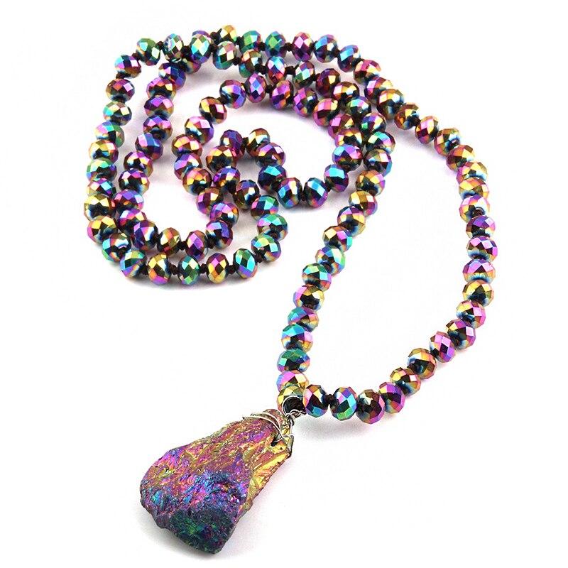 Joyería Tribal bohemia de moda largo multicolor cristal anudado collares con colgantes de piedra natural para mujeres collar étnico