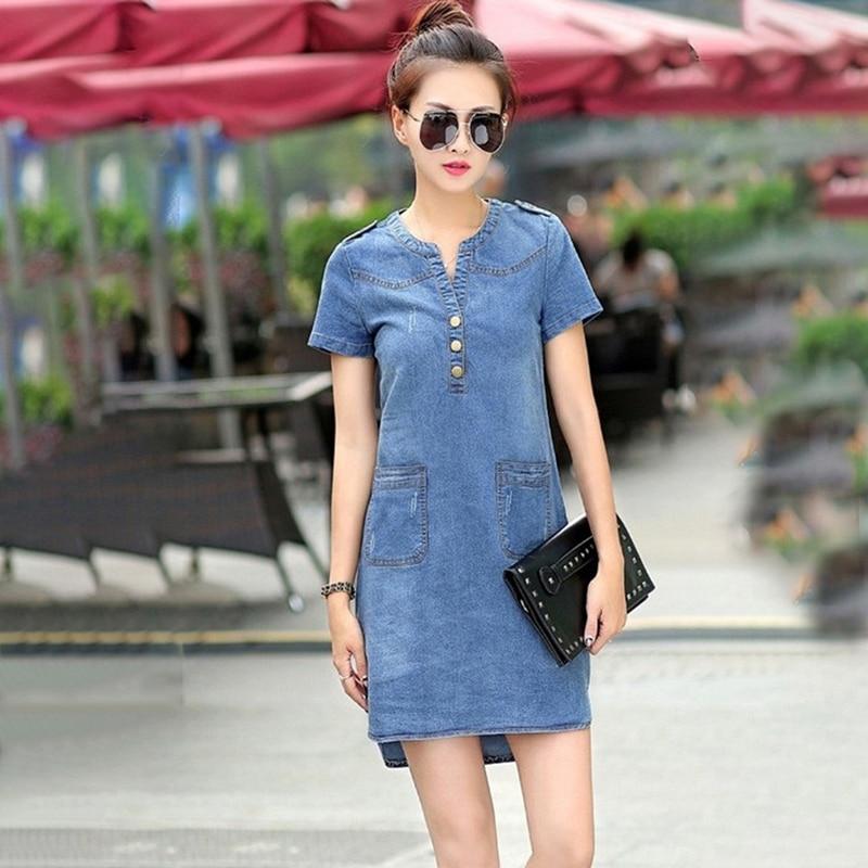 Bigsweety de mezclilla de verano vestido de las mujeres Vestidos de manga corta Slim Jeans Vestidos con bolsillo Vestidos de ropa de las mujeres de talla grande 5XL