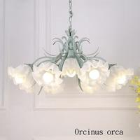 Korean style pastoral creative flowers glass chandelier living room bedroom Mediterranean simple flower iron chandelier