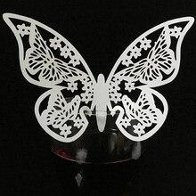 10 Colos 50 stks Vlinder Laser Cut Naamkaartjes Tafel Mark Wijnglas Naam Plaats Kaarten Bruiloft Verjaardagsfeestje levert