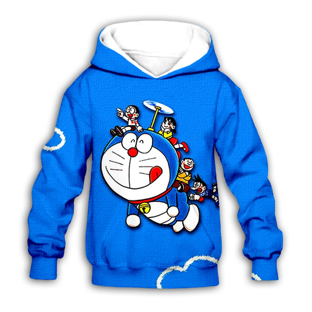 Cartoon Nobita Nobi Doraemon 3D printed Kids blue hoodies sweatshirt fashion baby boy girl hoodie casual streetwear set pullover