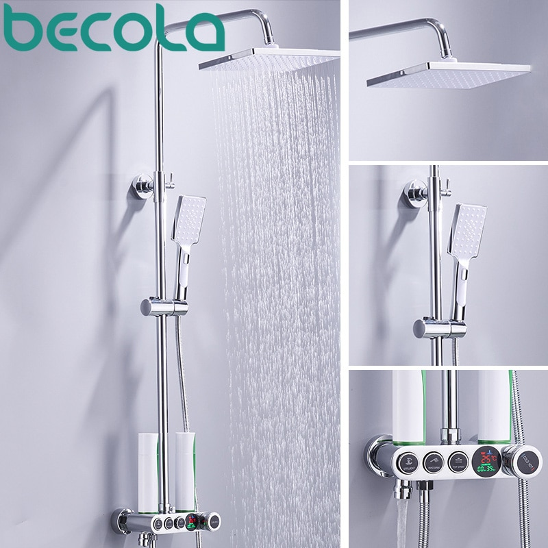 BECOLA LCD LED شاشة ديجيتال دش مجموعة عالية الجودة الحائط دش صنبور الحمام دش كيت الحنفيات B-SX018