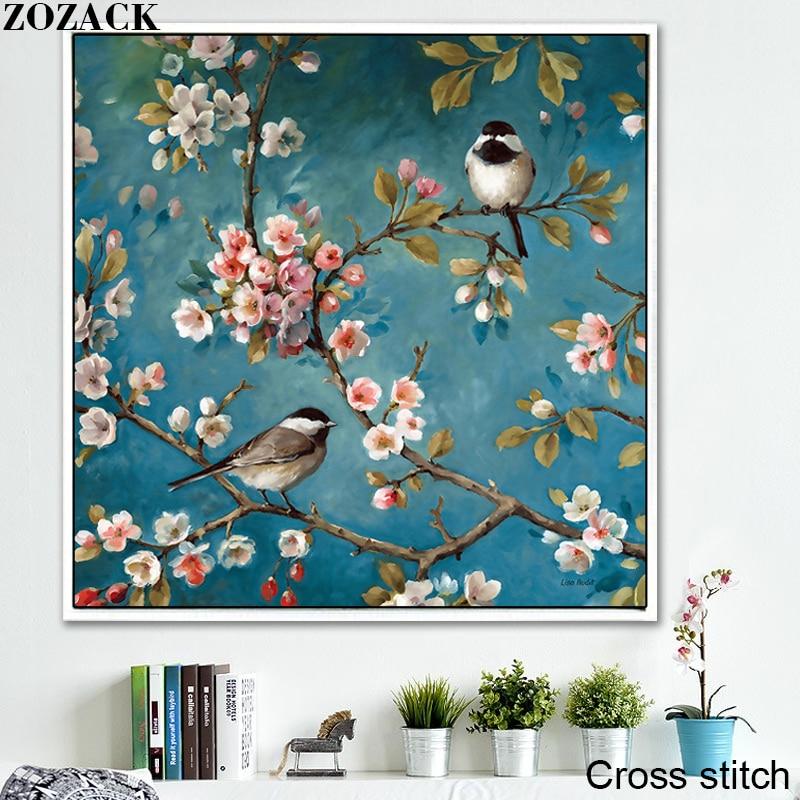 Вышивка крестиком Zozack, DMC, полный набор для вышивки крестиком, вышивка цветком сливы и птицами, Китайская вышивка крестиком, отпечатанная на канве