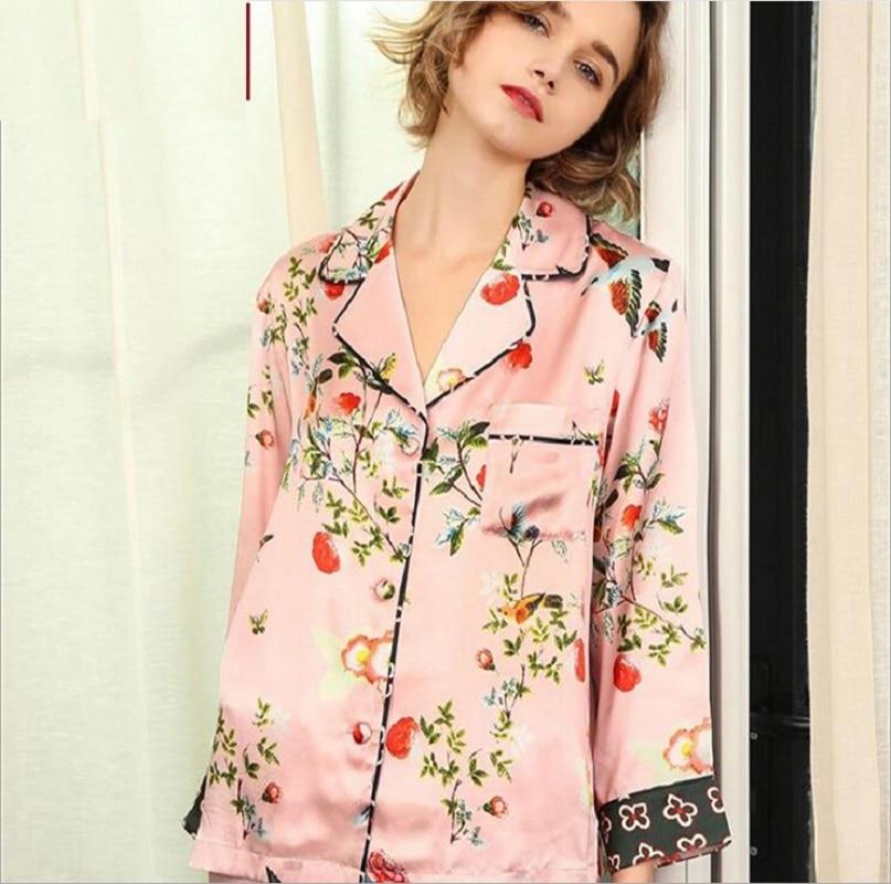 Silk Pajama Sets Two Piece Set Woman  Pink Flower Print 2019 Summer 100% Silk Stain Homewear Sexy Pajama Sets Pant Sleepwear XL