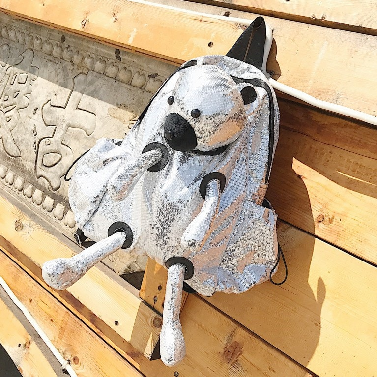 Moda lantejoulas mochila feminina grande capacidade bonito urso design escola mochilas para meninas adolescentes saco de viagem feminino portátil