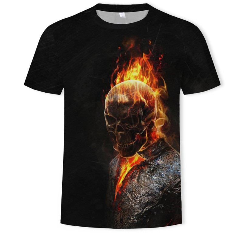 Gran oferta 2019 Camiseta con estampado 3D de calavera para hombre, camiseta de manga corta de verano para hombre, camiseta de hombre, camisetas y camisetas, ropa de calle