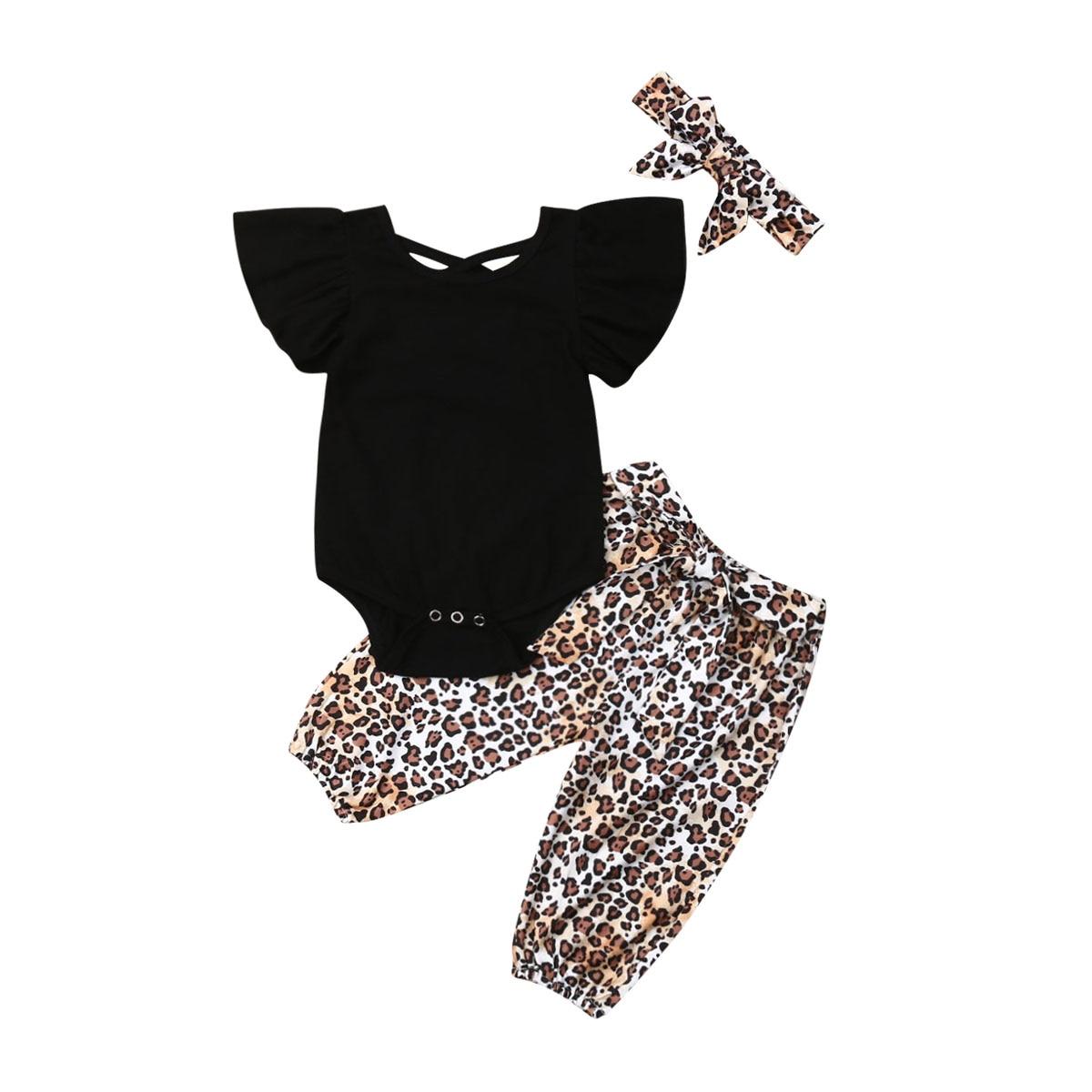 3 uds. Ropa para bebés y niñas, Tops con mangas voladas + Pantalones largos de leopardo con conjunto de Bodi y diadema