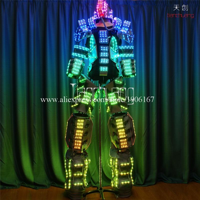 LED a todo Color Stilts luminosos Robot Tron disfraz luz Led al aire libre Display Robot Props ropa de actuaciones escenario