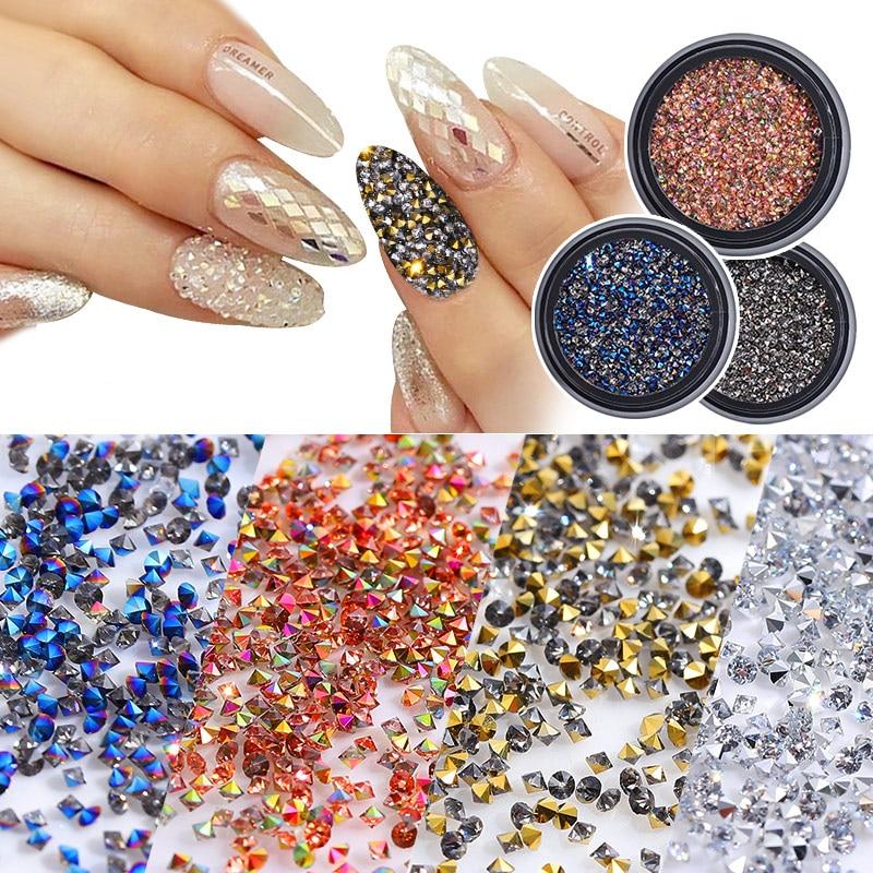 1Box New 3D Glitter Caviar Micro Diamond Nails Rhinestones Crystal Non Hotfix Rhinestones Need Glue Nail Art Decoration