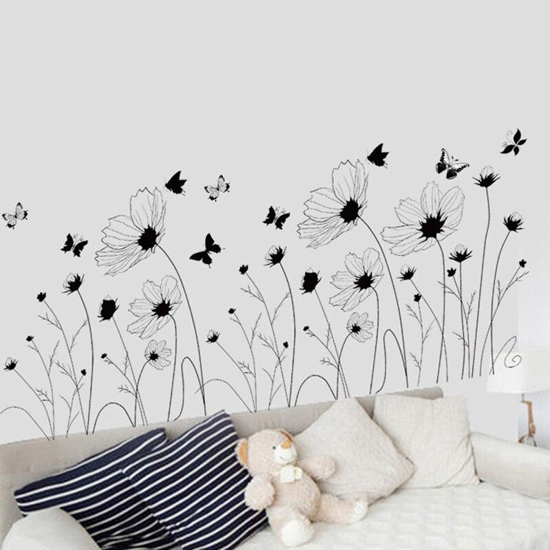 Flores negras, mariposas, pegatinas de pared, fondo con cabecero para sala de estar, dormitorio, póster, Mural decorativo, papel tapiz artístico