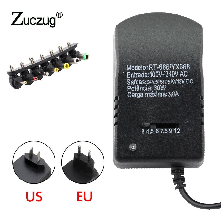 Универсальный Регулируемый адаптер питания, мульти напряжение, 3 в, 4,5 В, 6 в, 7,5 В, 9 В, 12 В, Регулируемый адаптер питания, кабель конвертера, 7 вилок, 30 Вт