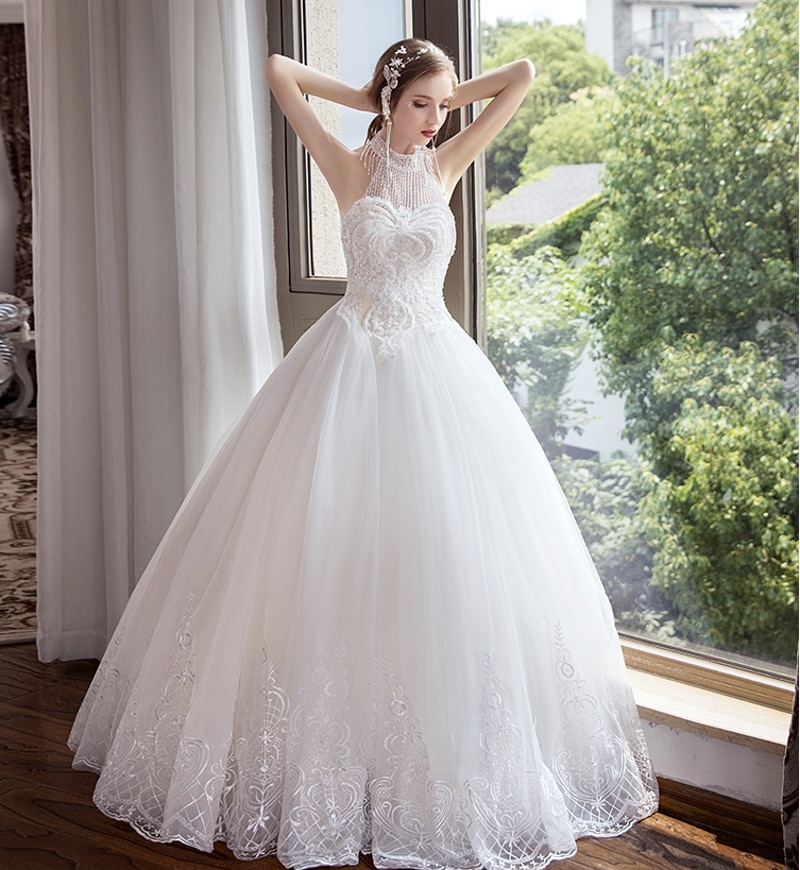 Luxury Beading Wedding Dress Ball Gown Shiny Bridal Gown Halter Appliques Customized Plus Size  - buy with discount