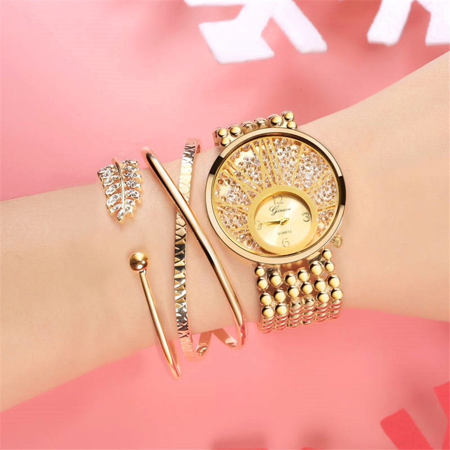 Gold Bracelet Diamond Watches Women Stainless Steel Luxury Casual Wrist Watch Ladies Clock Relogio Feminino Gift zegarek damski enlarge