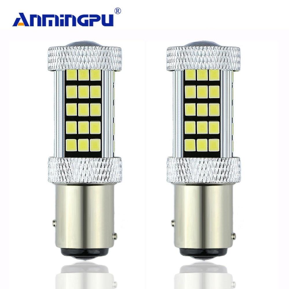 Сигнальная лампа ANMINGPU 2x1157 P21/5 W Bay15d LED 66 SMD 12V автомобильный стоп-сигнал стоп стояночный DRL лампа красный/белый/янтарный