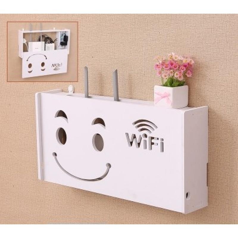 Caja enrutadora inalámbrica Wifi estante de pared de madera-plástico soporte de almacenamiento de Cable de gran tamaño para colgar en la pared del hogar caja enrutadora