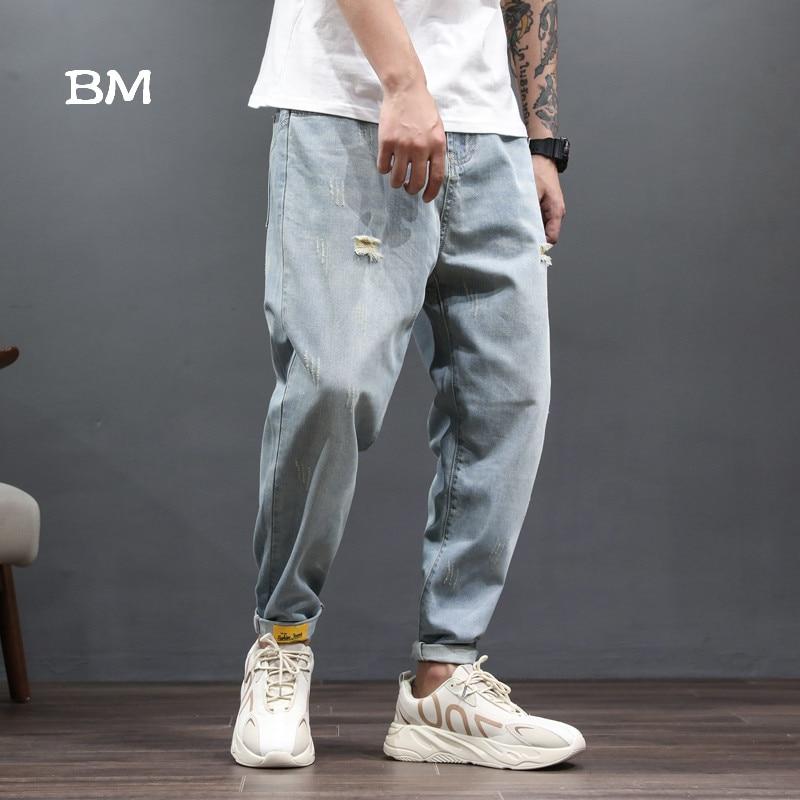 2019 hip hop pantalones vaqueros dsq streetwear modis vaqueros rasgados para hombres de moda kpop estilo coreano harem jeans azul denim ropa suelta