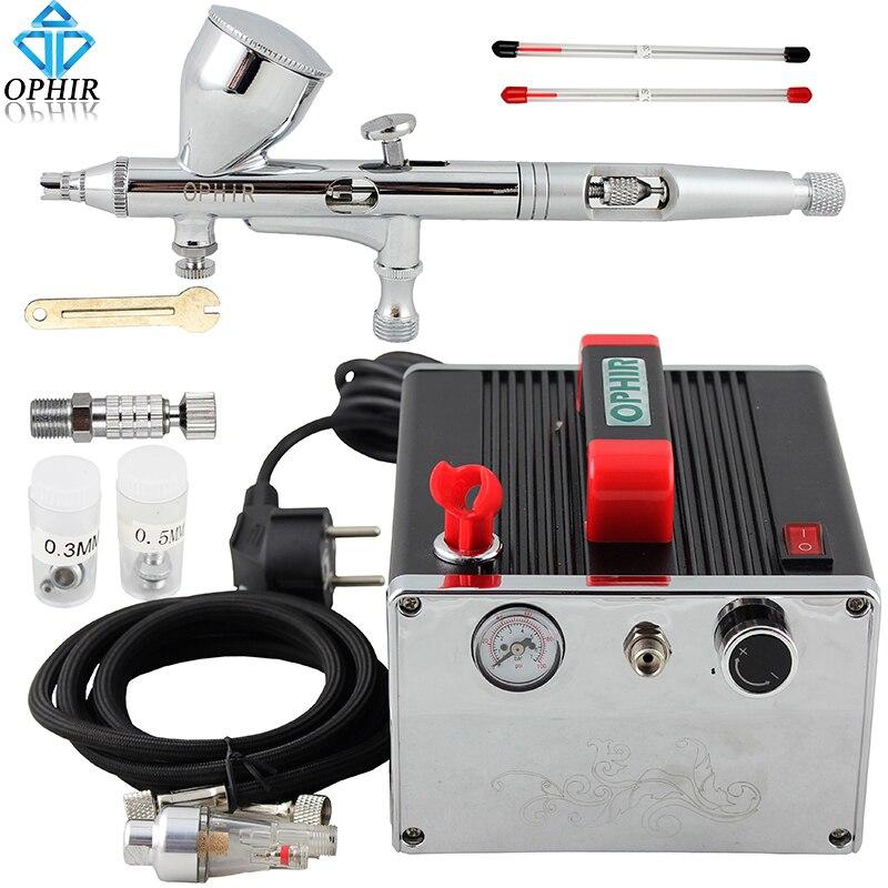 Kit de aerógrafo OPHIR PRO con compresor de aire, pistola de cepillo de aire, pintura para manicura, modelo de pintura, juego de aerógrafo para pastel de bronceado, AC091 + AC070