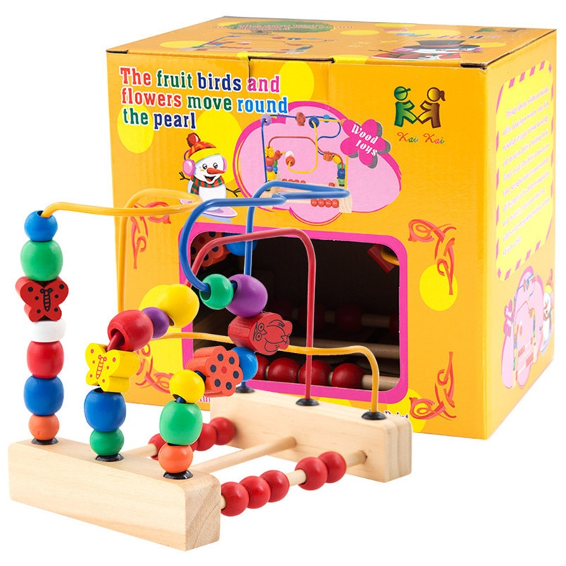 Juguetes de madera Montessori para bebés, círculos contadores, laberinto de cuentas, flores, pájaros, cuentas redondas, montaña rusa, rompecabezas educativo, juguete para niños