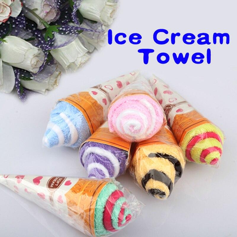 Nuevo cono flor papel envuelto en forma de toallas de doble color helado algodón toalla bebé ducha perfecto regalo